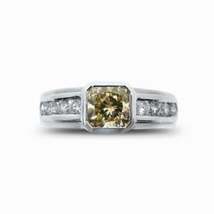 Fancy Cognac Radiant Cut Solitaire 1ct